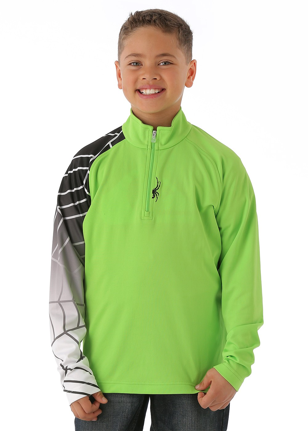 Spyder Boys Linear Web Dry Web T-Neck (Mantis Green/Black/White)