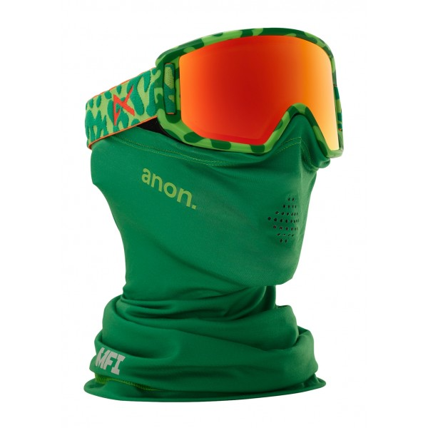 Anon Relapse Jr Goggle w/ Magnetic Facemask- Green Skull/Red Amber - WinterKids.com