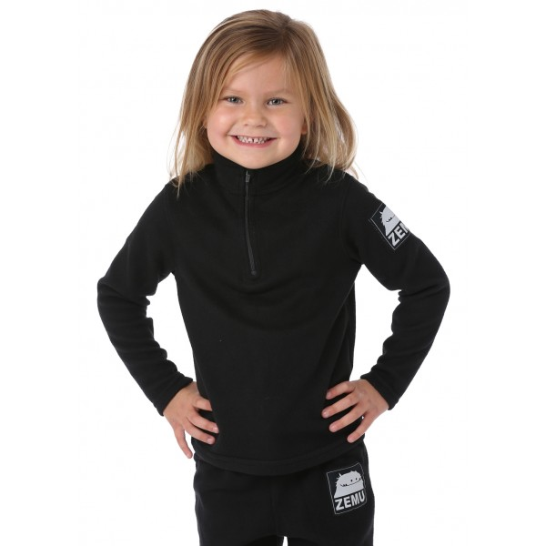 Zemu Little Girls 1/4 Zip Black Fleece Top - WinterKids.com