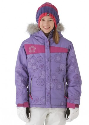 Girls Mannual Gidget Puffy Jacket (Violet Rings)
