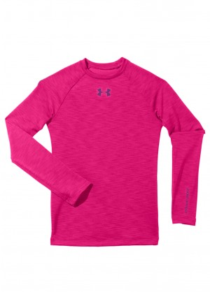 Under Armour Girls Evo CG Fitted Crew (Pinkadelic/Hendrix)