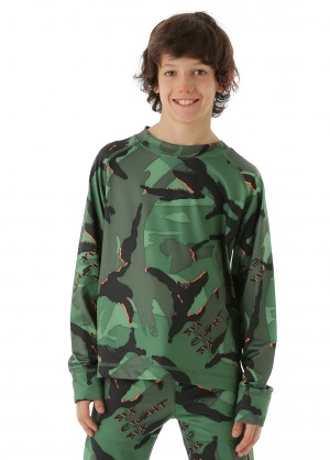 686 Boys Camo Base Top (Green Camo Glo)