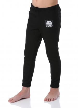 Junior Boys Black Fleece Pant