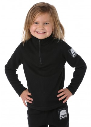 Zemu Junior Girls 1/4 Zip Black Fleece Top - WinterKids.com