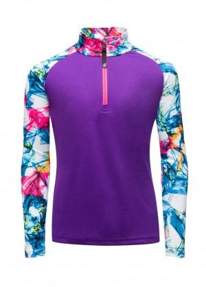 Spyder Girls Surface Zip T-Neck - WinterKids.com