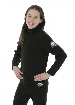 Junior Girls 1/4 Zip Black Fleece Top